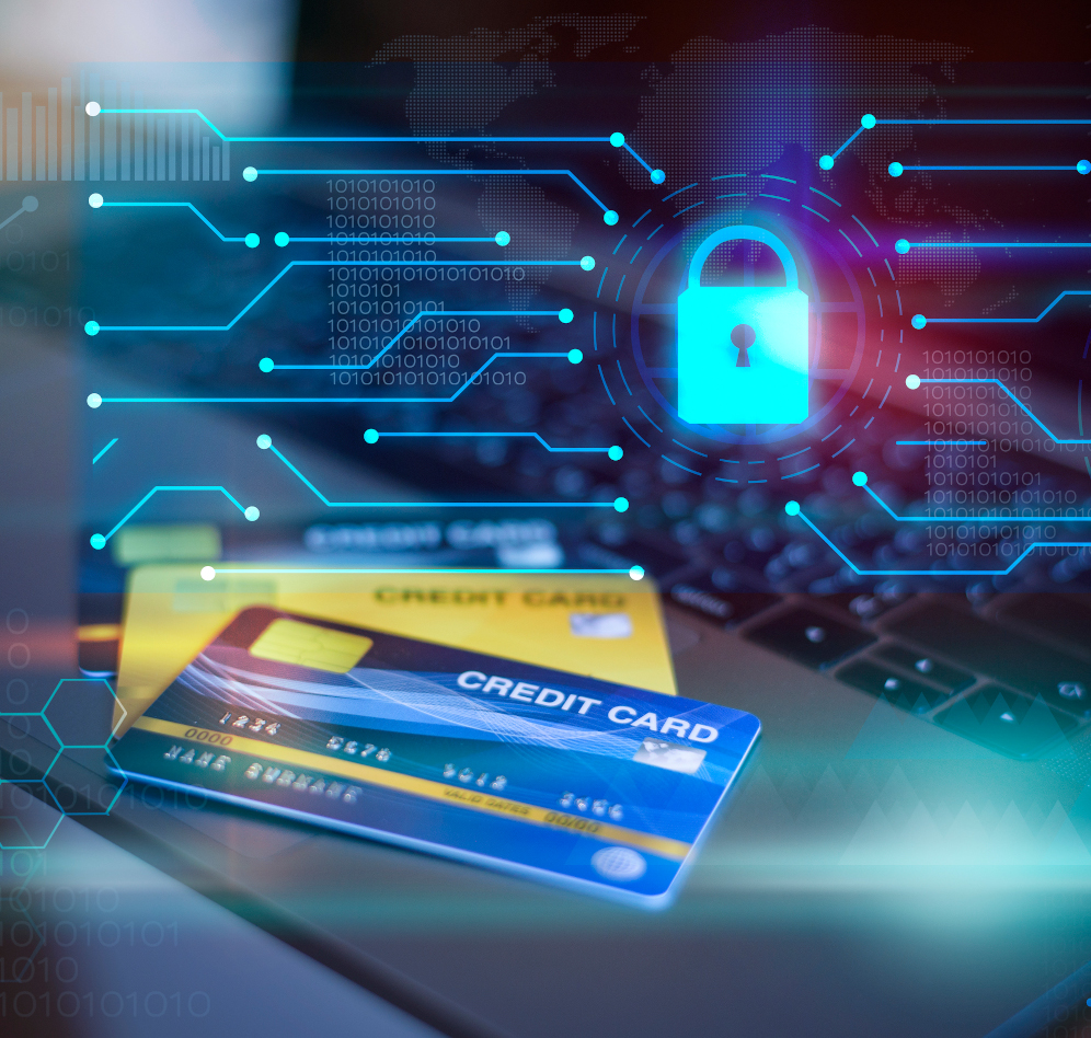 Credit card on computer  with digital padlock and technology icons , credit card security concept